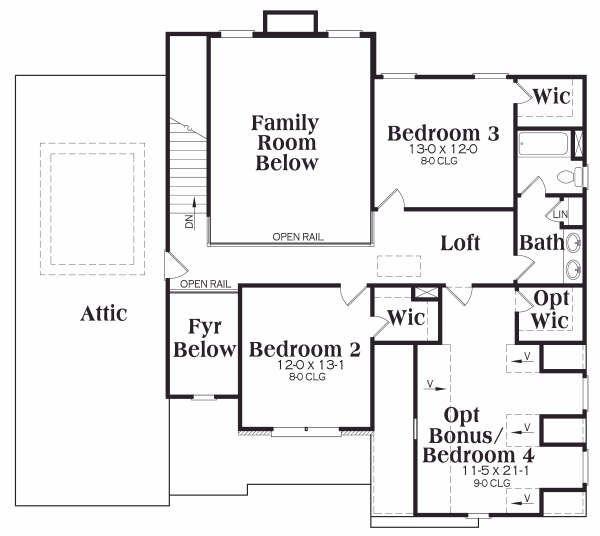 Traditional Floor Plan - Upper Floor Plan Plan #419-110