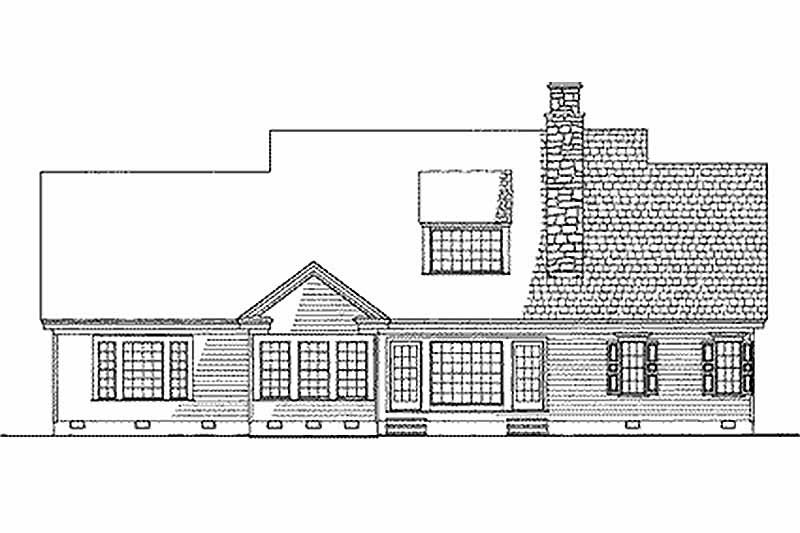 Southern Exterior - Rear Elevation Plan #137-205 - Houseplans.com