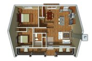 Country Style House Plan - 2 Beds 1 Baths 900 Sq/Ft Plan #18-1027