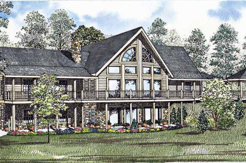 Log Exterior - Front Elevation Plan #17-3001