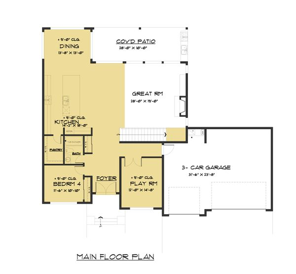 Modern Floor Plan - Main Floor Plan Plan #1066-82
