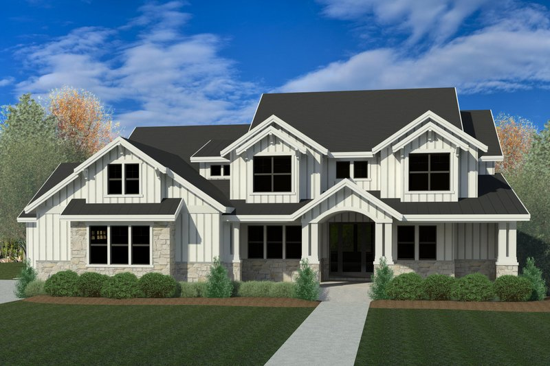 Craftsman Style House Plan - 4 Beds 2.5 Baths 3249 Sq/Ft Plan #920-102 Exterior - Front Elevation