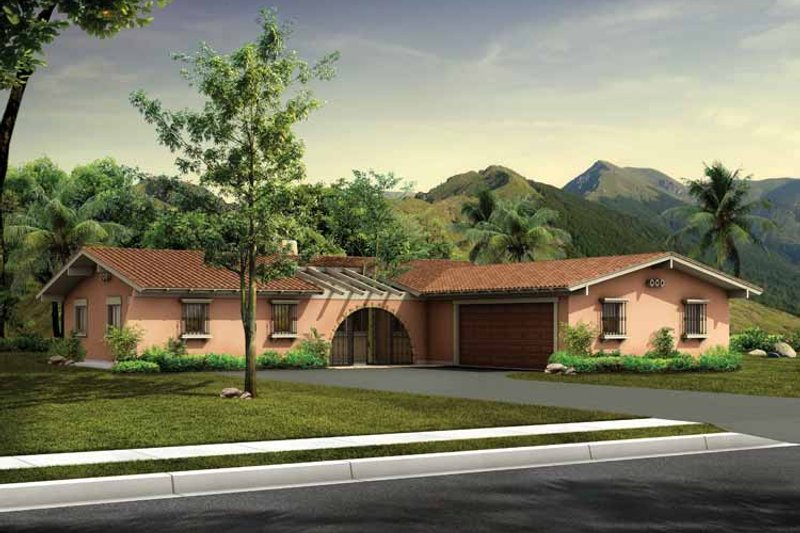 House Plan Design - Adobe / Southwestern Exterior - Front Elevation Plan #72-599