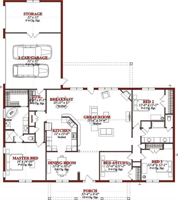 Traditional Floor Plan - Main Floor Plan Plan #63-227