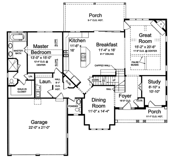 Traditional Floor Plan - Main Floor Plan Plan #46-850
