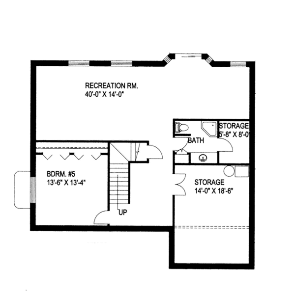 Traditional Floor Plan - Lower Floor Plan Plan #117-837