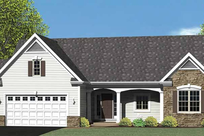 Ranch Exterior - Front Elevation Plan #1010-24
