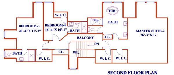 Architectural House Design - European Floor Plan - Upper Floor Plan #3-343
