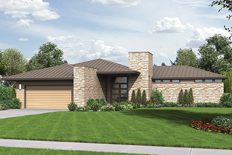 Contemporary Exterior - Front Elevation Plan #48-916 - Houseplans.com