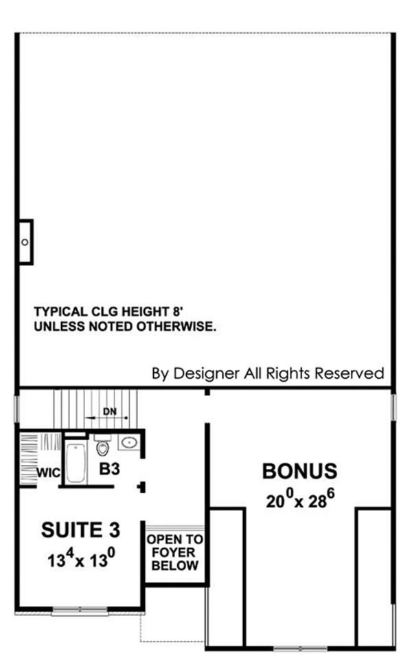 Country Floor Plan - Upper Floor Plan Plan #20-2252