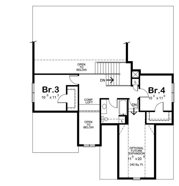 Cottage Style House Plan - 4 Beds 3 Baths 2232 Sq/Ft Plan #20-2315 Floor Plan - Upper Floor Plan