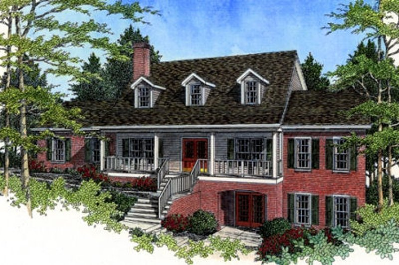 Southern Exterior - Front Elevation Plan #56-185
