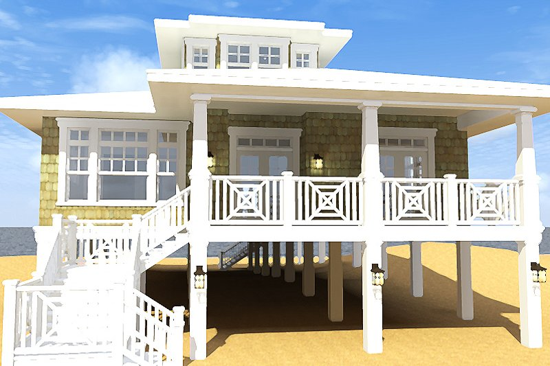 Beach Exterior - Front Elevation Plan #64-205 - Houseplans.com