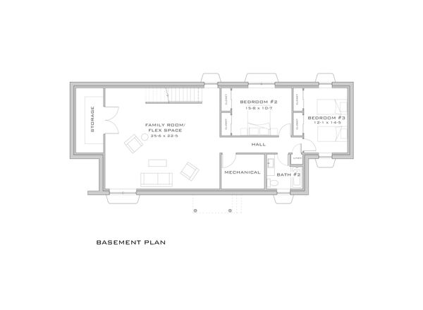 Modern Floor Plan - Lower Floor Plan #909-6