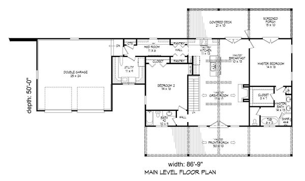 Country Floor Plan - Main Floor Plan #932-36