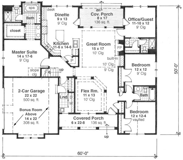 Craftsman Floor Plan - Main Floor Plan Plan #51-511