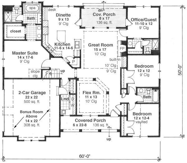 Craftsman Floor Plan - Main Floor Plan Plan #51-511