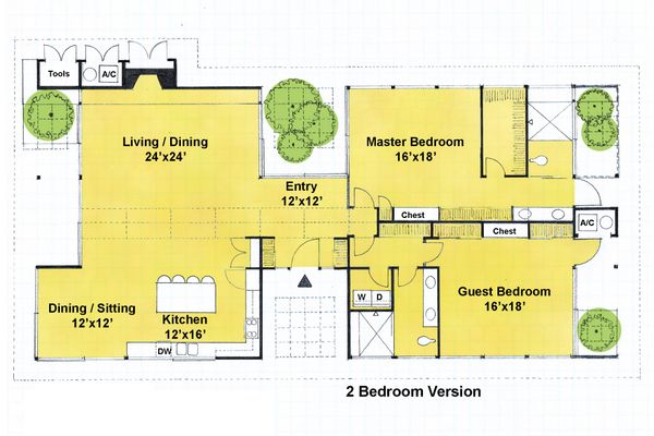 Ranch Floor Plan - Main Floor Plan Plan #544-2
