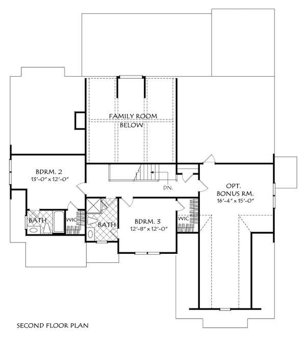 Traditional Floor Plan - Upper Floor Plan Plan #927-985