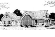 Country Style House Plan - 3 Beds 2.5 Baths 1675 Sq/Ft Plan #20-146 Exterior - Rear Elevation