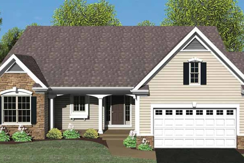 Ranch Exterior - Front Elevation Plan #1010-23