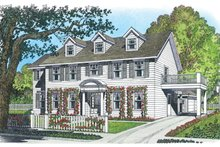 Colonial Exterior - Front Elevation Plan #1016-100