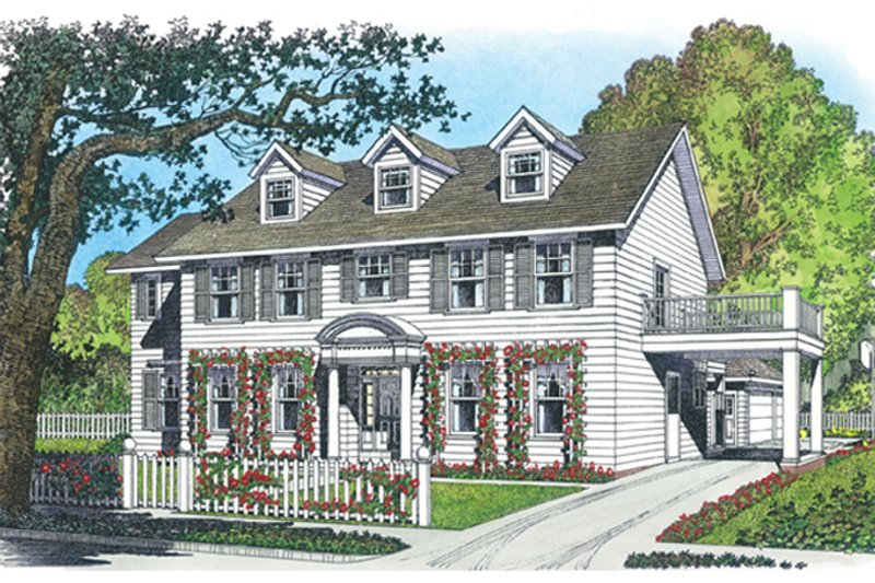 Architectural House Design - Colonial Exterior - Front Elevation Plan #1016-100