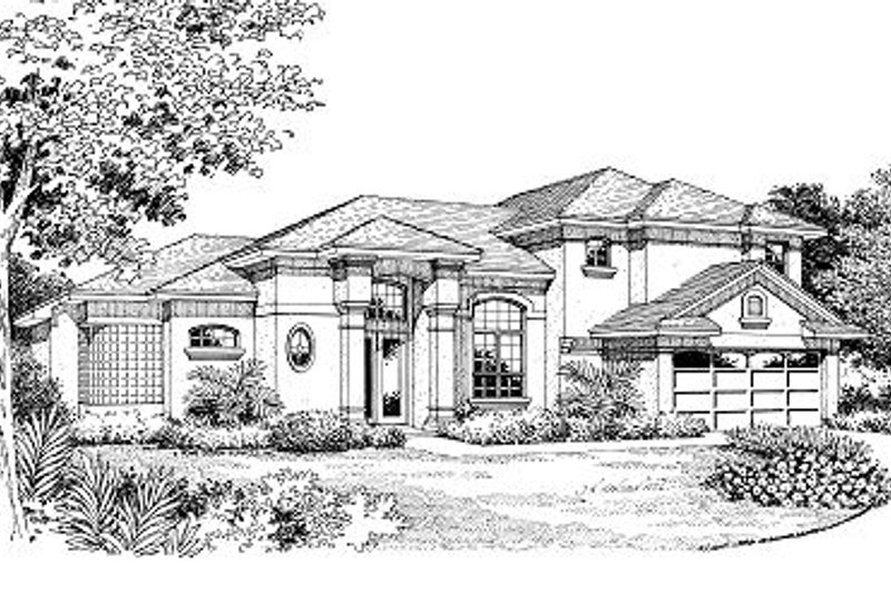 European Style House Plan - 3 Beds 2.5 Baths 1962 Sq/Ft Plan #417-173 Exterior - Front Elevation