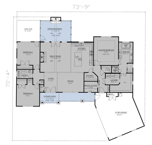 Craftsman Floor Plan - Main Floor Plan Plan #437-101