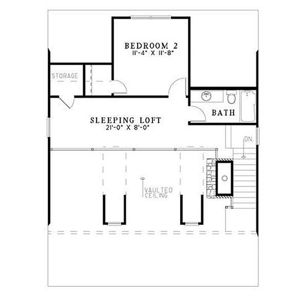 Architectural House Design - Cabin Floor Plan - Upper Floor Plan #17-2356