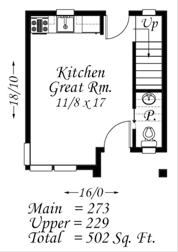 Modern Style House Plan - 1 Beds 1.5 Baths 502 Sq/Ft Plan #509-37 Floor Plan - Main Floor Plan