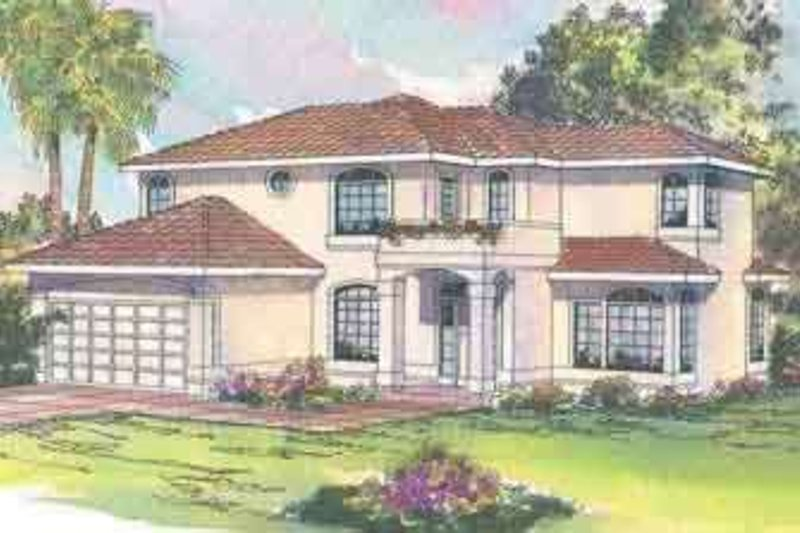 Mediterranean Style House Plan - 4 Beds 2.5 Baths 2635 Sq/Ft Plan #124-431 Exterior - Front Elevation