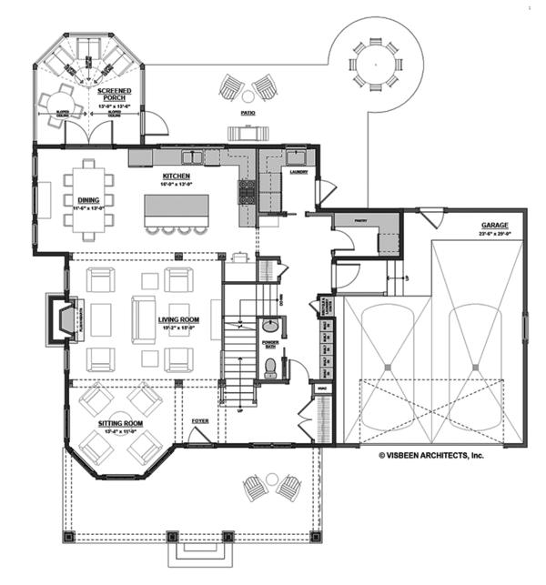 Traditional Floor Plan - Main Floor Plan #928-299