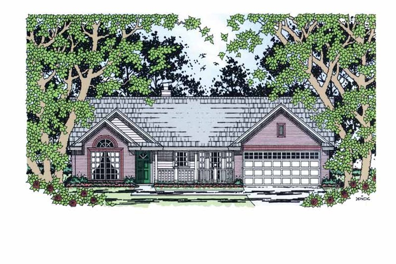 Country Exterior - Front Elevation Plan #42-596 - Houseplans.com