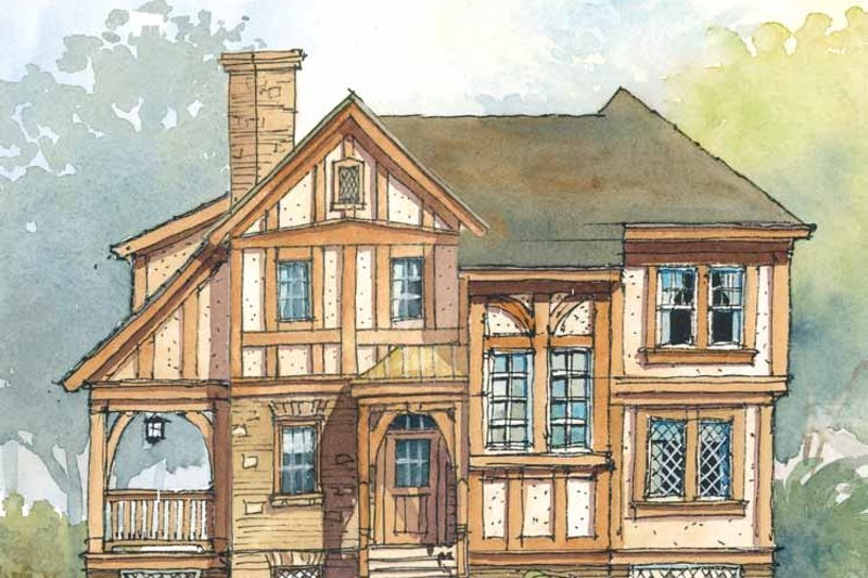 Home Plan Design - Tudor Exterior - Front Elevation Plan #429-319