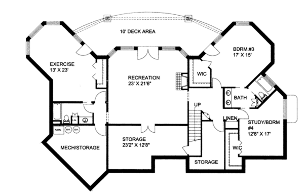 Ranch Floor Plan - Lower Floor Plan Plan #117-861