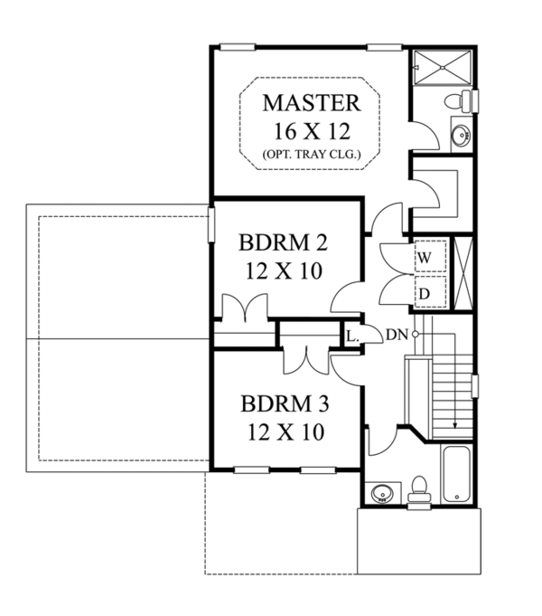 Colonial Floor Plan - Upper Floor Plan Plan #1053-46