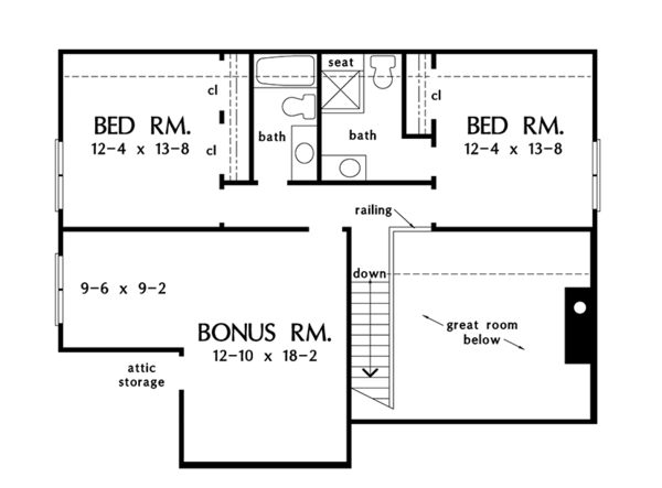 Colonial Floor Plan - Upper Floor Plan Plan #929-989