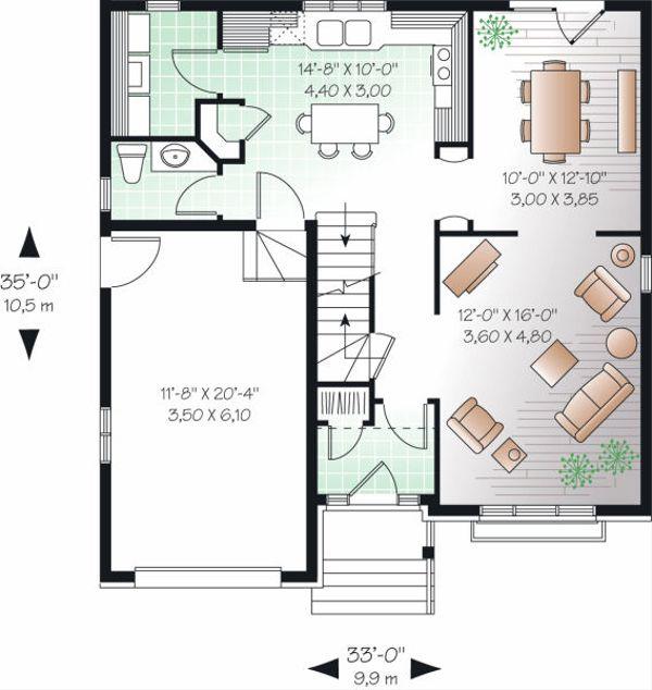 European Floor Plan - Main Floor Plan Plan #23-801