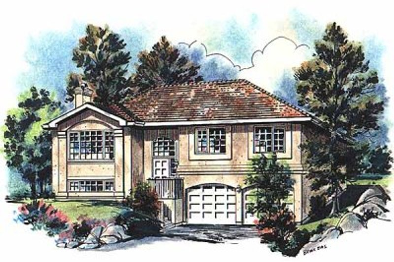 European Style House Plan - 4 Beds 3 Baths 2203 Sq/Ft Plan #18-301 Exterior - Front Elevation