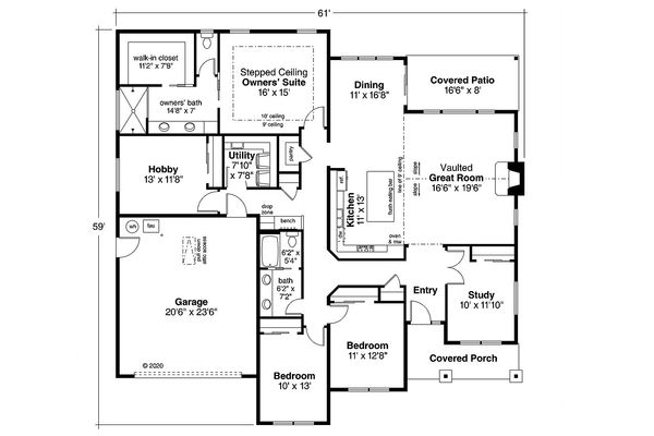 Ranch Floor Plan - Main Floor Plan Plan #124-1194