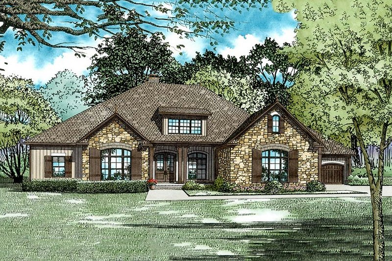 European Style House Plan - 3 Beds 3.5 Baths 3548 Sq/Ft Plan #17-2539 Exterior - Front Elevation