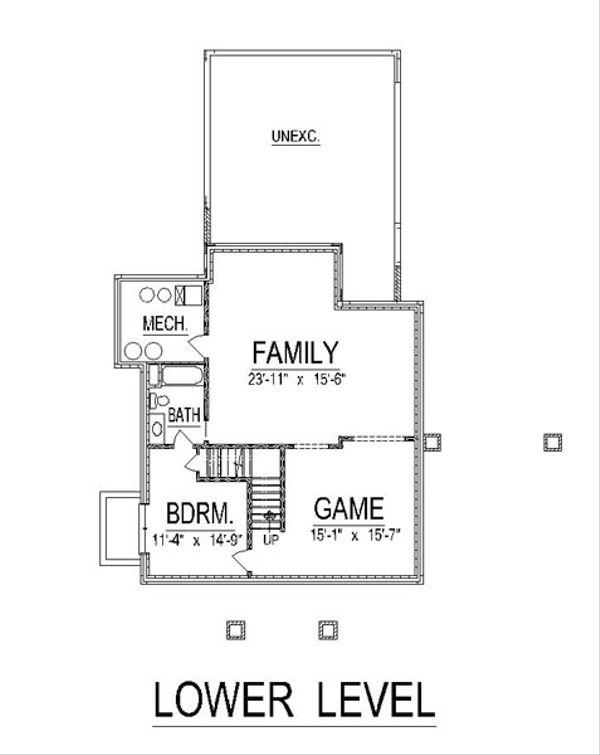 Craftsman Floor Plan - Lower Floor Plan Plan #458-12