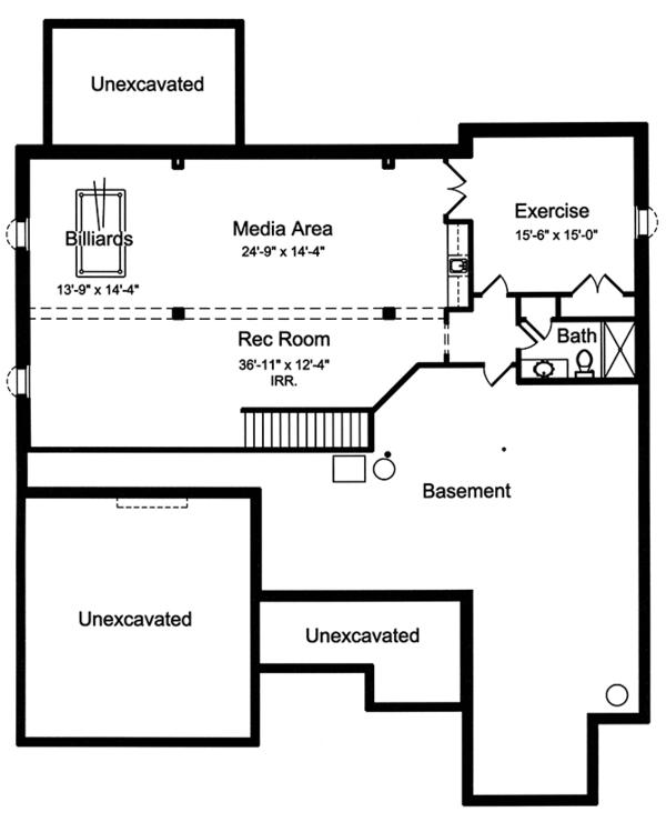 House Plan Design - European Floor Plan - Lower Floor Plan #46-855