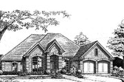 European Style House Plan - 4 Beds 2.5 Baths 2151 Sq/Ft Plan #310-789 Exterior - Front Elevation