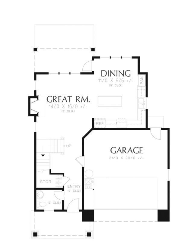 Craftsman Floor Plan - Main Floor Plan Plan #48-906