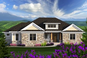 Ranch Exterior - Front Elevation Plan #70-1175