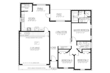 Adobe / Southwestern Floor Plan - Main Floor Plan Plan #1061-21