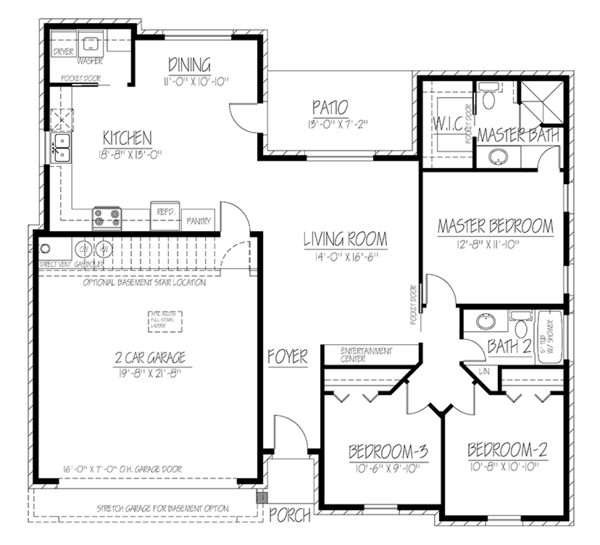 Adobe / Southwestern Floor Plan - Main Floor Plan Plan #1061-21