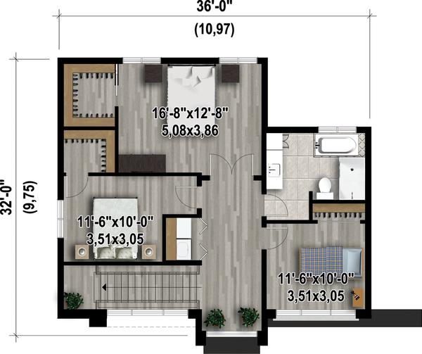 Contemporary Floor Plan - Upper Floor Plan Plan #25-4416